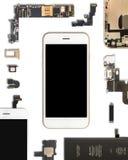 Smartphone-de componenten isoleren op wit stock foto's