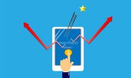 Smartphone de contact de main pour l'investissement Image libre de droits
