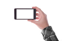 Smartphone de fixation de main Photos libres de droits