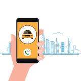 Smartphone de fixation de main Roulez au sol l'application de service sur un écran et un indicateur d'emplacement sur le plan de  Illustration Stock