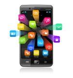 Smartphone de la pantalla táctil con los iconos de la aplicación Foto de archivo