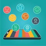 Smartphone de la pantalla táctil con los iconos de la aplicación , Teléfono elegante con Apps Foto de archivo libre de regalías