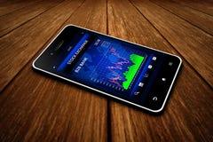 Smartphone de la pantalla táctil del negocio con el mercado de bolsa de acción Foto de archivo