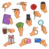 Smartphone de la tenencia de brazo del vector de las manos o taza y fingeres de café que muestran creditcards o el sistema del ej ilustración del vector
