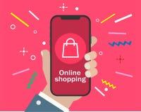 Smartphone de la tenencia de la mano y compras en línea stock de ilustración
