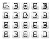 Smartphone/de mobiele of knopen geplaatst van de celtelefoon Stock Foto's