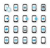 Smartphone/de mobiele of pictogrammen geplaatste van de celtelefoon stock illustratie