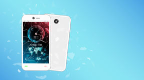Smartphone de vidro quebrado da tela com relação do teste de velocidade Foto de Stock Royalty Free
