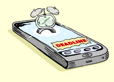 Smartphone deadline notification Stock Photography