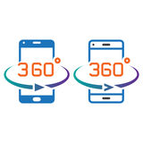 Smartphone 360 degree rotation line icon, outline and solid vect Royalty Free Stock Image