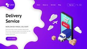 Smartphone del aterrizaje del servicio de entrega stock de ilustración