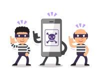 Smartphone del fumetto con i ladri Fotografia Stock Libera da Diritti
