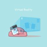 Smartphone del fumetto con realtà virtuale Fotografia Stock Libera da Diritti