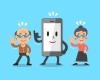 Smartphone del fumetto e gente senior Fotografia Stock Libera da Diritti