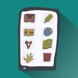 Smartphone del garabato con los iconos Imágenes de archivo libres de regalías
