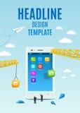 Smartphone della costruzione, software e sviluppo di applicazioni bianchi del cellulare Libro della copertura di progettazione de Immagine Stock