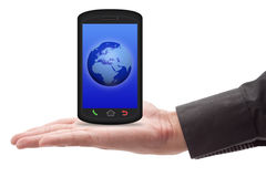 Smartphone della holding della mano fotografia stock libera da diritti