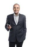 Smartphone della tenuta dell'uomo d'affari fotografie stock libere da diritti