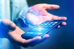 Smartphone della tenuta dell'uomo d'affari con il hologra della sfera del globo della rete Immagini Stock