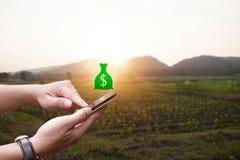 Smartphone della tenuta della mano con il prodotto commerciale di agricoltura Fotografia Stock