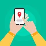 Smartphone della tenuta della mano con progettazione di vettore dell'icona di navigazione Fotografie Stock