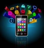Smartphone dello schermo attivabile al tatto Fotografie Stock Libere da Diritti