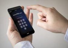 smartphone dello schermo attivabile al tatto con il codice del perno sullo schermo Fotografia Stock