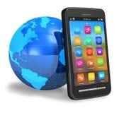 Smartphone dello schermo attivabile al tatto con il globo della terra Immagine Stock Libera da Diritti