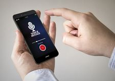 smartphone dello schermo attivabile al tatto con il messaggio vocale sullo schermo Immagine Stock Libera da Diritti