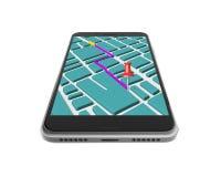 Smartphone dello schermo attivabile al tatto con l'applicazione di navigazione di GPS Fotografia Stock Libera da Diritti