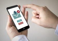Smartphone dello schermo attivabile al tatto con l'organizzatore sullo schermo Immagine Stock