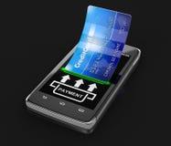 Smartphone dello schermo attivabile al tatto con la carta di credito (percorso di ritaglio incluso) Immagine Stock Libera da Diritti