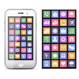 Smartphone dello schermo attivabile al tatto con le icone dell'applicazione variopinte Immagini Stock Libere da Diritti