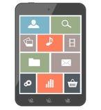 Smartphone dello schermo attivabile al tatto con le icone. Elementi di progettazione Fotografia Stock Libera da Diritti