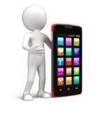 Smartphone dello schermo attivabile al tatto ed uomo (percorso di ritaglio incluso) Fotografia Stock