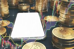 Smartphone dello schermo in bianco, bitcoins, grafici Illustrazione di Stock