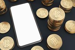 Smartphone dello schermo in bianco, bitcoins, vista superiore Royalty Illustrazione gratis