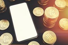Smartphone dello schermo in bianco, bitcoins, vista superiore tonificata Illustrazione Vettoriale