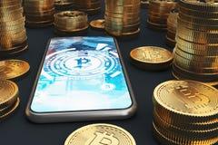 Smartphone dello schermo blu, bitcoins Illustrazione di Stock