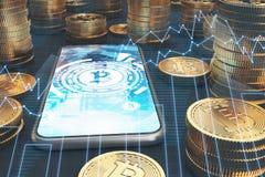 Smartphone dello schermo blu, bitcoins, grafici Illustrazione Vettoriale
