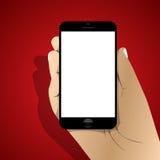 Smartphone in der Hand Ikone mit Schatten Auch im corel abgehobenen Betrag Stockbild