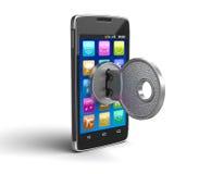 Smartphone des Bildschirm- mit Verschluss (Beschneidungspfad eingeschlossen) Stockbild