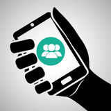 Smartphone-Design, Kontakt und Technologiekonzept, editable Vektor Stockfotografie