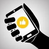 Smartphone-Design, Kontakt und Technologiekonzept, editable Vektor Lizenzfreie Stockbilder