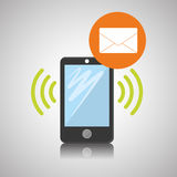 Smartphone-Design, Kontakt und Technologiekonzept, editable Vektor Lizenzfreie Stockfotos