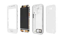 Smartphone desmontado aislado en blanco fotos de archivo