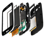 smartphone desmontado isometry Imagenes de archivo