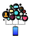 Smartphone device concept with applications (app) icons . Flat design. Vector illustration Stock Photo