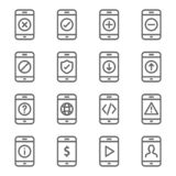 Smartphone Device Icon Set. Contains such Icons as Upload, Download, Warning, Develop, Mobile Web, Status and more. Expanded Strok. E stock illustration