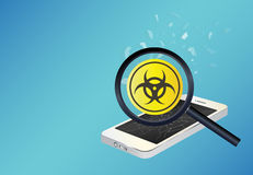Smartphone device infected virus Stock Photography